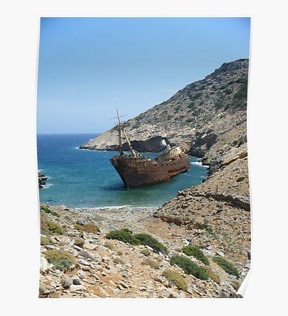 Amorgos Greek Island Ship Wreck Poster