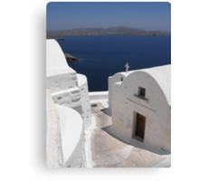 Greek Island Church by the Ocean Canvas Print