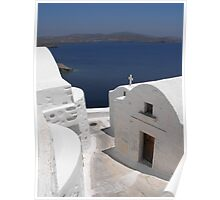 Greek Island Church by the Ocean Poster