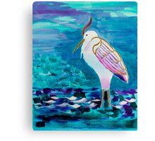 White Heron Egret Lake Bird Portrait Painting Canvas Print