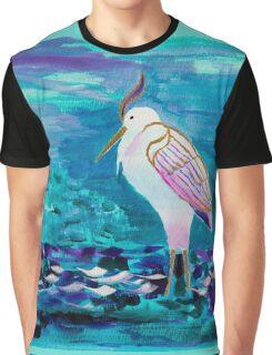 White Heron Egret Lake Bird Portrait Painting Graphic T-Shirt