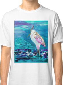 White Heron Egret Lake Bird Portrait Painting Classic T-Shirt
