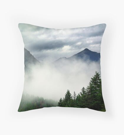 Mountain In The Mist- Mt. Terry Fox Throw Pillow