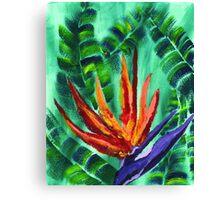 Bird of Paradise Crane Flower Acrylic Painting Canvas Print
