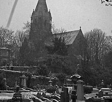 Graveyard and Church, Snow by Michiel Meyboom