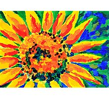 Bright and Cheerful Single Sunflower Acrylic Painting Photographic Print