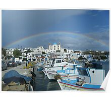 Full rainbow over church in Greek Island Poster