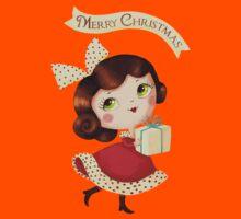 Cute Vintage Christmas Girl Kids Tee