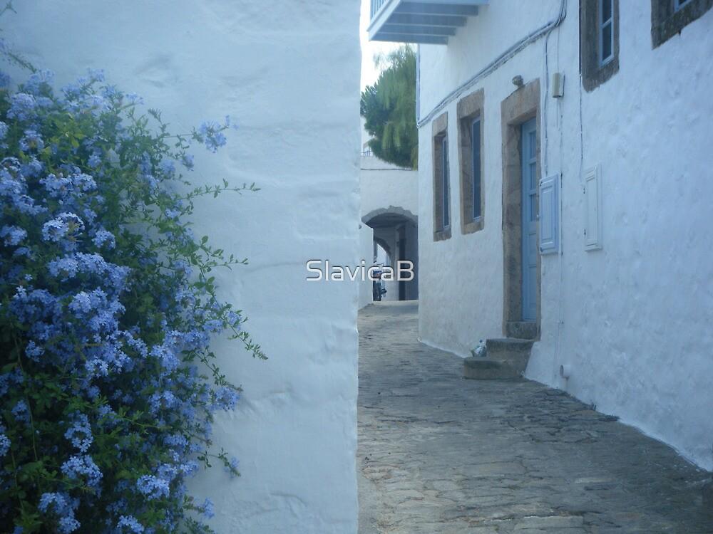 Patmos Island Street by SlavicaB