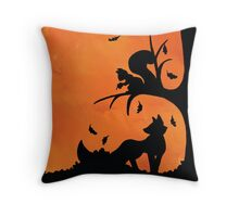 Woodland Shadows - Fox and Squirrel:Autumn Throw Pillow