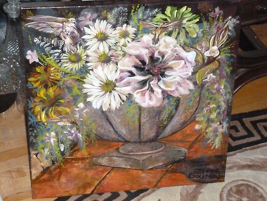 Garden Pot of Flowers - Oil Painting by JeffeeArt4u