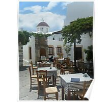 Outdoor restaurant on Greek Island Patmos  Poster