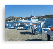 Lipsi Greek Island Sea Side Restaurant Canvas Print