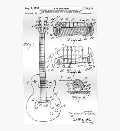 Guitar patent from 1955 Poster