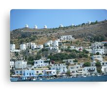 Patmos Greek Island Windmills #photography Canvas Print
