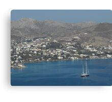Patmos Greek Island sailboat Canvas Print