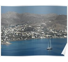 Patmos Greek Island sailboat Poster