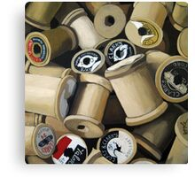 Sewing Time - realistic sewing thread spools Canvas Print