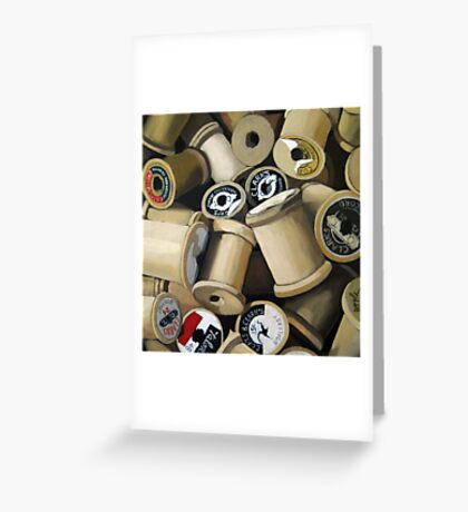 Sewing Time - realistic sewing thread spools Greeting Card