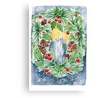 Pine and Holly Wreath Canvas Print
