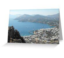 Patmos Greek Island harbor view #photography Greeting Card