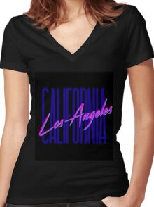 Retro 80s Los Angeles, California Women's Fitted V-Neck T-Shirt