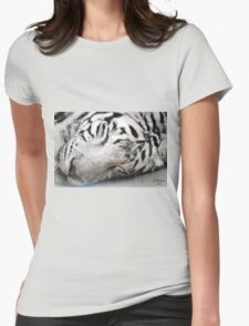 Sleepy White Tiger Womens Fitted T-Shirt