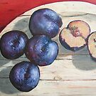 How Life Is - oil on canvas, plums on a board by glassbee