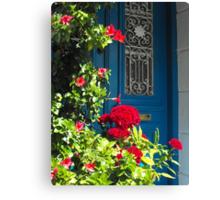 Greek Island Door and Flower #photography Canvas Print