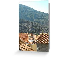 Greek Island rooftop #photography Greeting Card