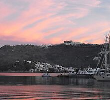 Sunset at Patmos harbor by SlavicaB