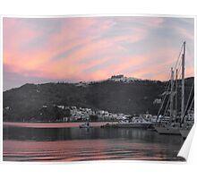 Sunset at Patmos harbor Poster