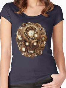 Steampunk Skull Vintage Style Women's Fitted Scoop T-Shirt
