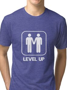 Level Up Guys White Tri-blend T-Shirt