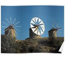 Greek Islands Windmills Poster