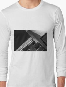 Monochrome Black and White Building Abstract Long Sleeve T-Shirt