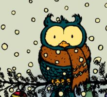 Owl in the snow v2 Sticker