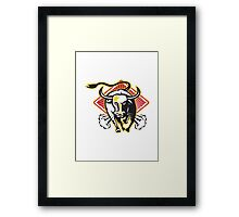 Raging Bull Charging Attacking   Framed Print