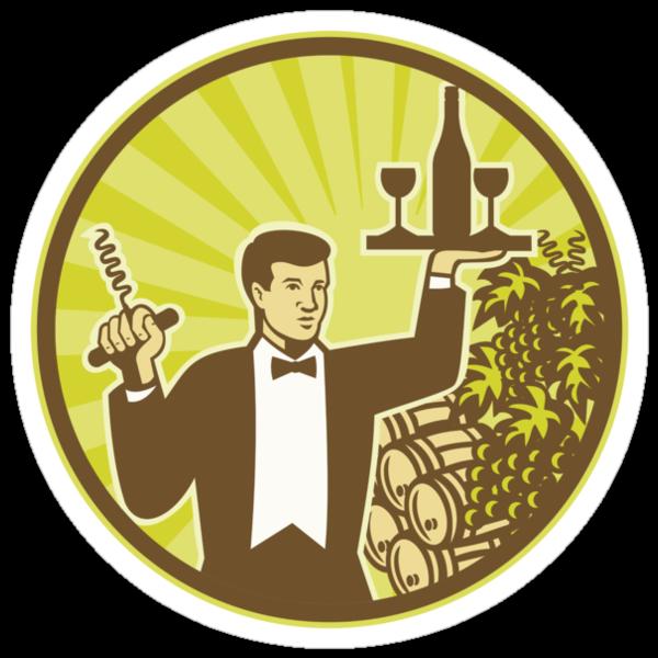 Waiter Serving Wine Grapes Barrel Retro  by patrimonio