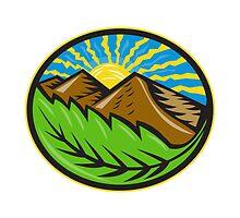 Mountains Leaf Sunburst Retro  by patrimonio