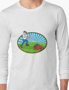 Lawn Mower Man Gardener Cartoon  Long Sleeve T-Shirt