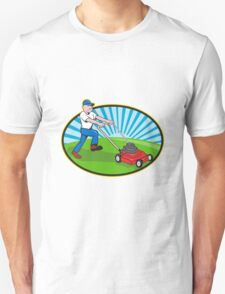 Lawn Mower Man Gardener Cartoon  Unisex T-Shirt