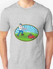 Lawn Mower Man Gardener Cartoon  T-Shirt