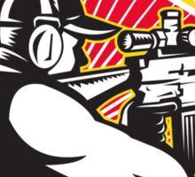 Hunter Shooter Aiming Rifle Retro  Sticker