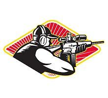 Hunter Shooter Aiming Rifle Retro  by patrimonio