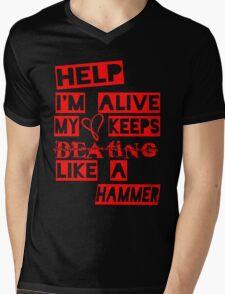 Help I'm Alive Black Mens V-Neck T-Shirt