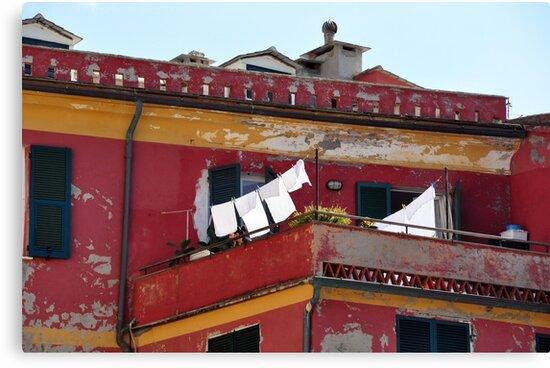 Laundry day in Cinque Terre by Karen E Camilleri