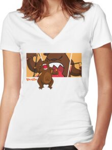 Foe Grizzle with Logo Women's Fitted V-Neck T-Shirt