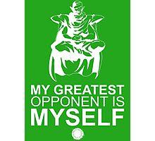Picollo - My Greatest Opponent Is Myself - White Photographic Print