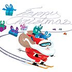 Santa skiing by drawgood